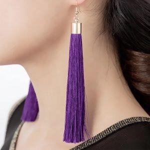 Boho Purple Tassel Long Dangle Gold Hook Earrings